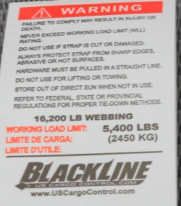 Blackline tie down straps from USCargoControl.com