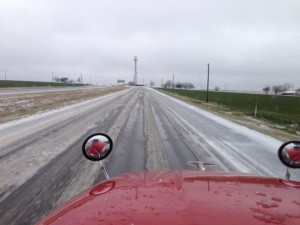 Trucker Brock Gadberry encounters icy conditions on Highway 67 just north of Alamogordo, TX.