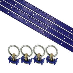 8 Piece 4' L Track Tie Down System- Blue