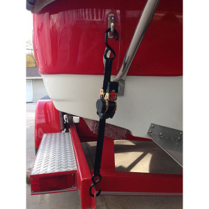 A 1'' retractable ratchet strap used as a transom tie down.