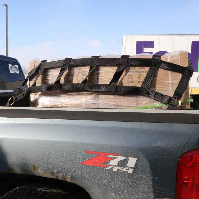 cargo net on pickup truck flatbed