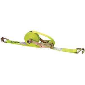 yellow 2 inch self contained ratchet strap with double j hook end fittings
