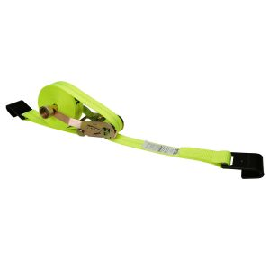 yellow 2 inch self contained ratchet strap with flat hook end fitting