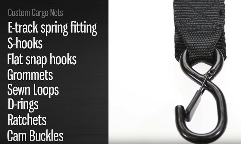 cam buckle or ratchet strap options and end fittings for custom cargo nets