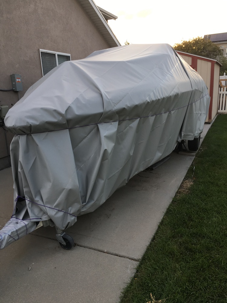 heavy duty gray custom tarp on boat