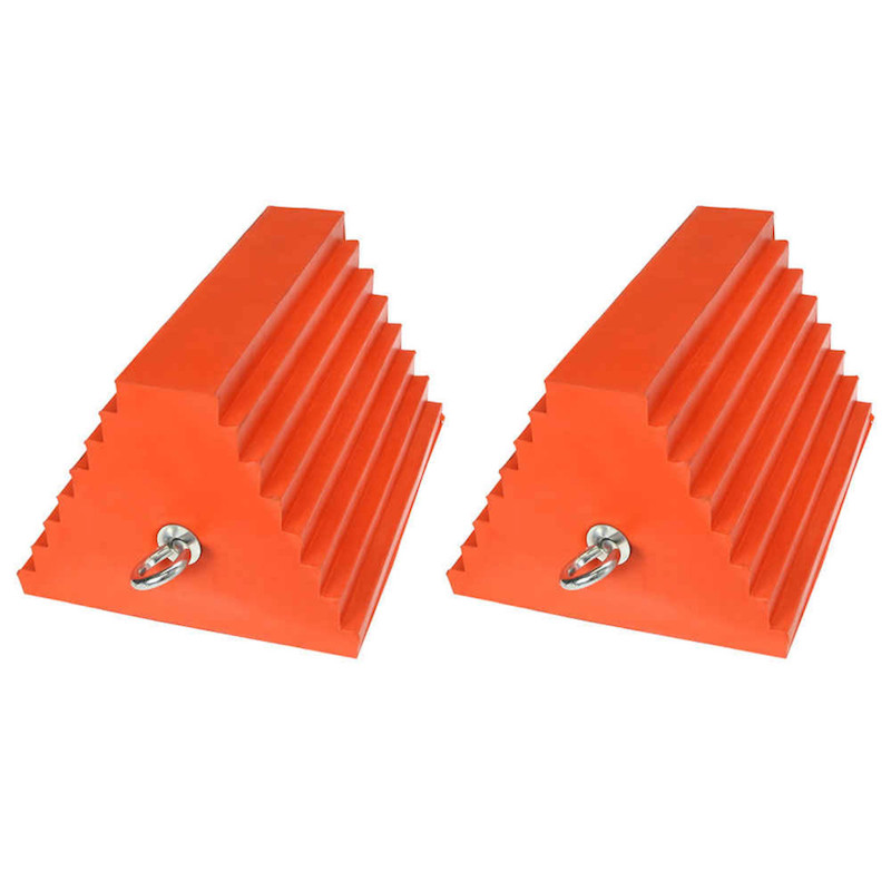 orange urethane double sided pyramid style wheel chock