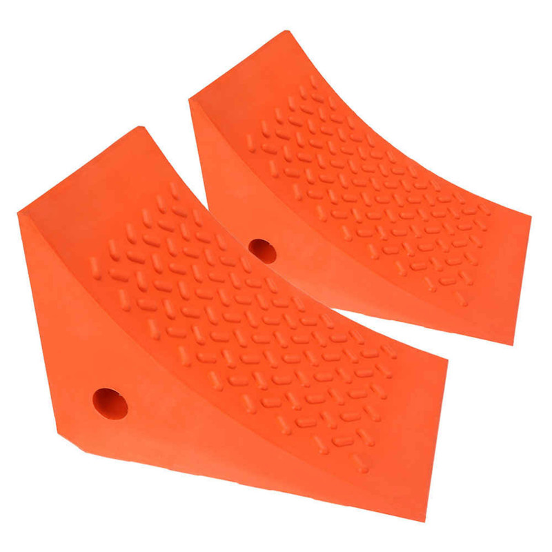 orange wedge wheel chocks made from urethane