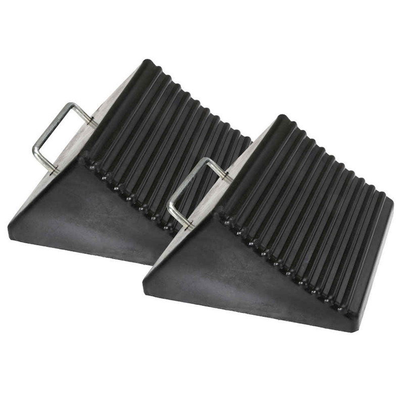 black rubber wheel chocks wide style with metal handle