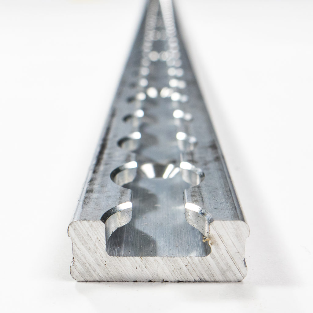 image of a silver, long aluminum L-Track rail