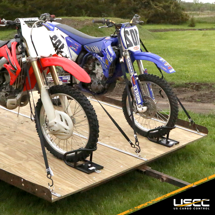 narrow L-Tracks in use for stabling motorcycles on trailer