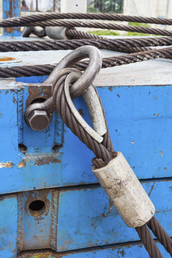 Up close shot of wire rope sling on shackle