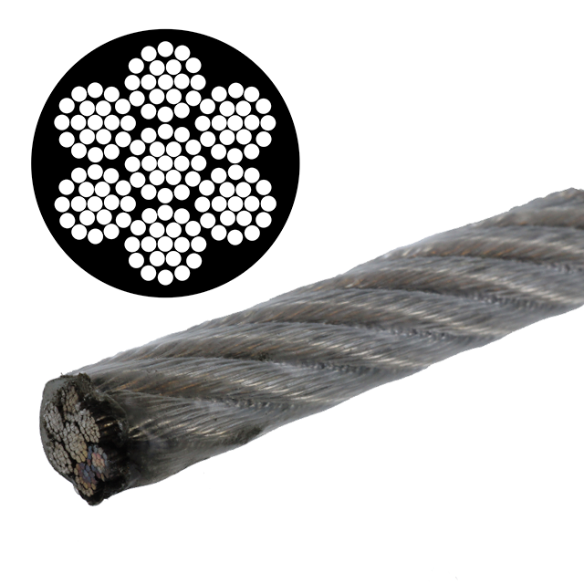 the size and strand pattern of a wire rope