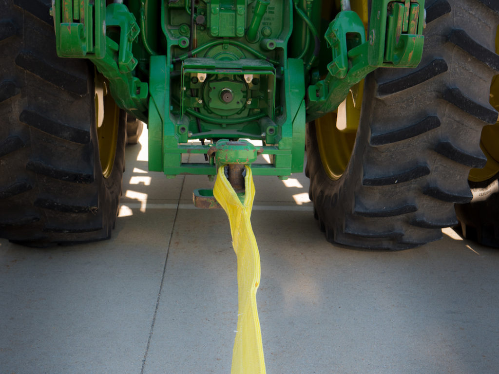 using nylon recovery strap to stuck vehicle